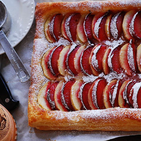 Plum And Apple Tart On Puff Pastry
