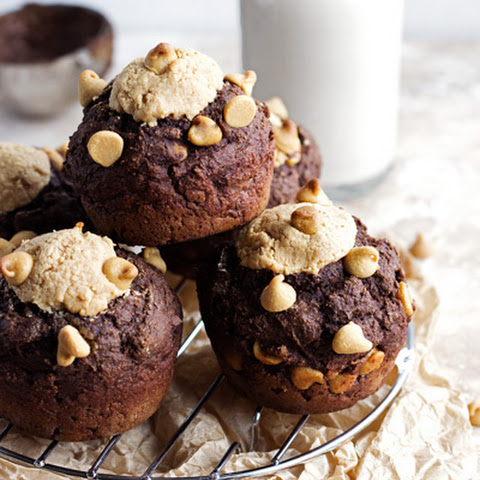 Skinny Chocolate Peanut Butter Muffins {Whole Wheat & Low Fat}