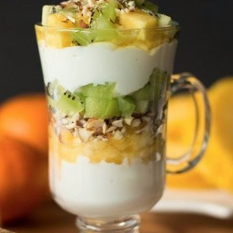 Dessert  Parfait with kiwi and pineapple