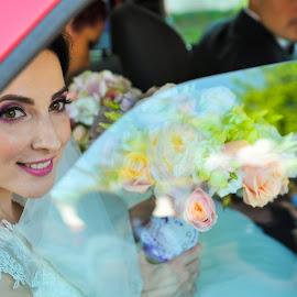 in the car by Costi Manolache - Wedding Bride ( car, smile, bride, pretty, flower )