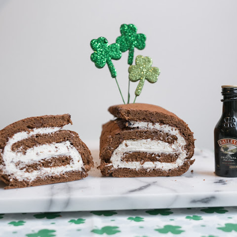 Chocolate Cake Roll with Bailey's Irish Cream Filling