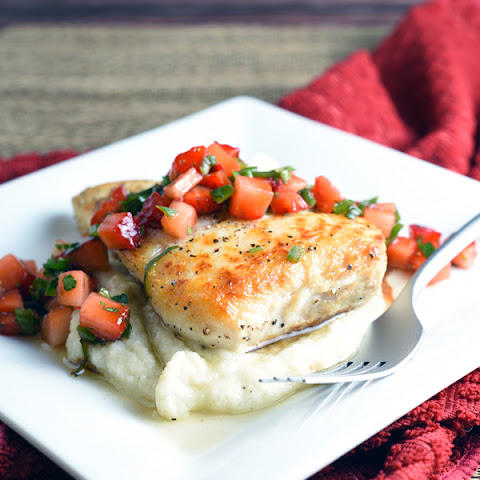 Pan-Seared Halibut with Cauliflower Puree and Strawberry Salsa