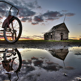 Forgotten at Sunset by Eric Demattos - Buildings & Architecture Decaying & Abandoned ( clouds, school house, tricycle, sunset, eric demattos, sunrise, decayed, forgotten )
