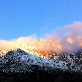 Late Autumn Sunset by Perla Tortosa - Instagram & Mobile iPhone ( mountains, eveing, autumn, sunset, snow )