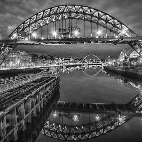 Tyne Bridge by Adam Lang - Black & White Buildings & Architecture ( gateshead, newcastle, tyne bridge, bridges, river )