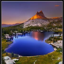 Cathedral Peak. by Dustin Penman - Landscapes Mountains & Hills ( dustin, park, peak, yosemite, sunset, california, national, d7000, cathedral, lake, penman, nikon )