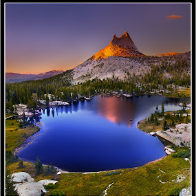 Cathedral Peak. by Dustin Penman - Landscapes Mountains & Hills ( dustin, park, peak, yosemite, sunset, california, national, d7000, cathedral, lake, penman, nikon )