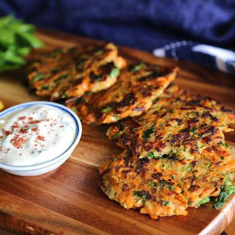 Zucchini and Sweet Potato Fritters with Sumac Yoghurt