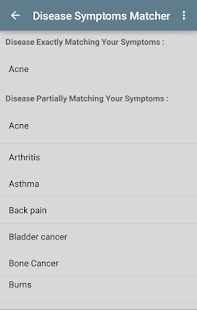 Disease Symptoms Matcher screenshot for Android