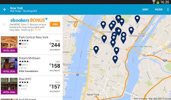Screenshot of ebookers: Hotel, Flights, Cars