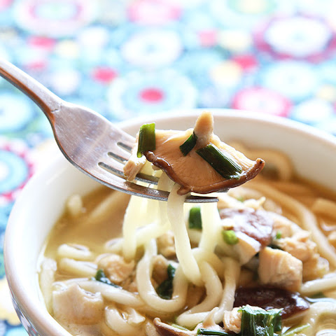 15 Minute Chicken Mushroom Udon Noodle Soup