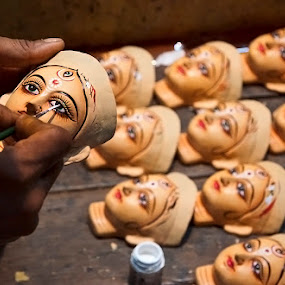 Idol making at Kumartuli by Saumalya Ghosh - Artistic Objects Other Objects ( idol, goddess )