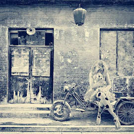 Abandoned shop by Beth Schneckenburger - Digital Art People ( shop, detail, old, motorbike, store, street, stone, door, house, architecture, chinese, weathered, city, aged, lantern, grunge, pingyao, repair, china, texture, damage, paint, cart, frame, window, facade, town, wall, decay, abandoned, decorative, colorful, brick, retro, entrance, shut, motorcycle, closed, building, blank, decoration, vintage, rickshaw, front, torn, urban, red, blue, color, background, lamp )