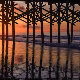 Under the Pier by Valerie Dyer - Buildings & Architecture Bridges & Suspended Structures ( pier, sunrise )
