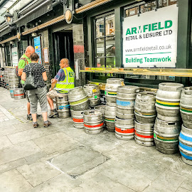 Pub-Life by T Sco - City,  Street & Park  Street Scenes ( bar, outside, talking, keg, people, beer )