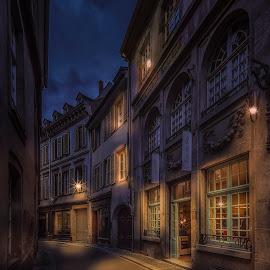 Rue de Faisan by Ole Steffensen - City,  Street & Park  Street Scenes ( shop, haut-rhin, street, night, alsace, france, rue de faisan, strasbourg )