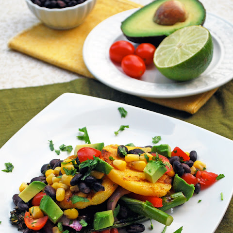 Grilled Polenta Cakes with Pico and Grilled Vegetables