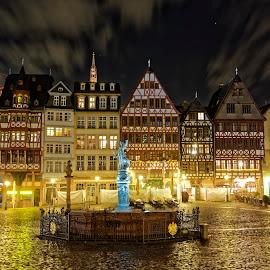 Frankfurt at night by Jaideep Abraham - City,  Street & Park  Night ( frankfurt, street, night, germany, square )