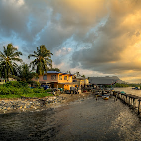 Fishing Village by Ted Khiong Liew - Landscapes Sunsets & Sunrises ( water, sunsets, boats, trees, villages, river )