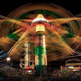 Rides at the County Fair 2 by Joe Saladino - Abstract Light Painting ( amusement park, night scene, carnival, amusement rides, fair )