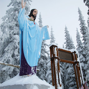 Shepherd of the ski hill by Michael Nania - Buildings & Architecture Statues & Monuments ( jesus, snow, snowboarding )