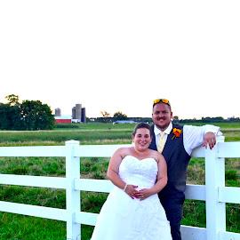 Outdoor @ The Farm by Mike DeLong - Wedding Bride & Groom ( farm, fence, wedding, outdoor, bride and groom )