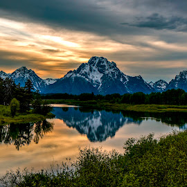 Sunrise in the Tetons by Carol Chihara - Landscapes Mountains & Hills ( mountains, sunrises, reflections, scenery, grand tetons )
