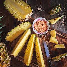 Pineapples  by TaTu Thai - Food & Drink Fruits & Vegetables ( plant, bamboo, stilllife, wood, diet, tropical, cuttingborad, vietnamese, yellow, rustic, traithom, lowkey, asian, farm, oldwood, fresh, dark, asia, light, knife, sour, fruit, vietnam, traidua, chili, farming, chilisalt, pure, nutrition, sweet, healthyfood, food, background, basket, loseweight, vietnamesefood, healthy, slice, pineapple, vitamin, natural )