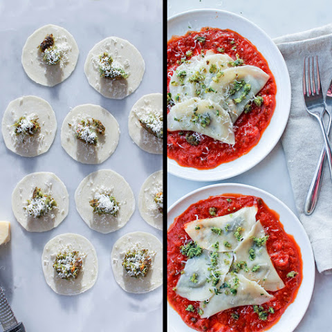 Super Greens Ravioli With Red Sauce