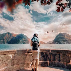 Lugano by Goran Dzh - Landscapes Mountains & Hills ( d750, suisse, lake lugano, wife, switzerland, lugano, swiss, nikonshooter, clouds, tamron 15-30, tamron, nikon, panorama, lake, landscape,  )