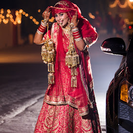 Bride by Ravinder Saini - Wedding Bride ( backlit, bridal, night photography, elegant, wedding, beautiful, indian, portraits, bride, indian wedding )