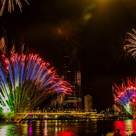 New Year's Eve fireworks by Adrian Phoebe - Abstract Fire & Fireworks ( water, fireworks, night, city, colours, river )