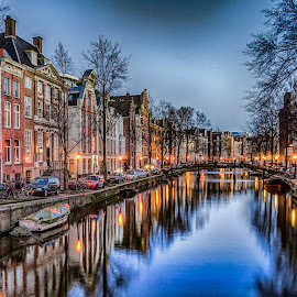 Amsterdam Canal by Adam Lang - City,  Street & Park  Night ( slow exposure, holland, reflections, amsterdam, canal, netherlands, amsterdam canal )