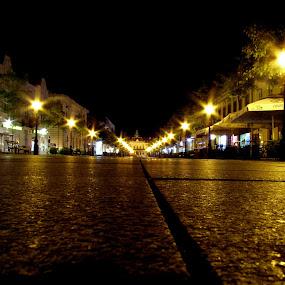 Somor Main Street by Zeljko Secujski - City,  Street & Park  Street Scenes ( srbija, sombor, serbia, street, night, light, main )