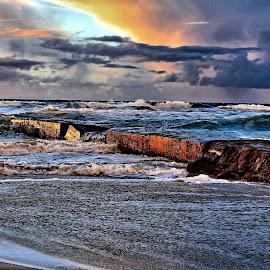 Broken pier by Roar Randeberg - Landscapes Beaches ( water, clouds, skyes, beautiful, sundown, pier, sea, beach, seaside, landscape )