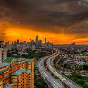 Sunset from Berembang Indah by Zack Zaidi - Landscapes Sunsets & Sunrises ( klcc, skyline, sunset, malaysia, kuala lumpur )