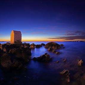 After sunset by Ivan Stulic - Landscapes Sunsets & Sunrises ( sunset, sea, chapel, seascape, colours )
