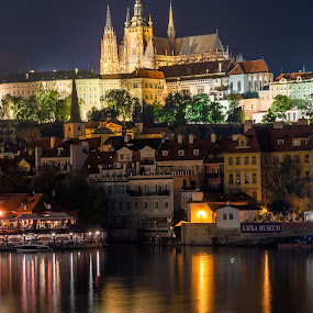 Pague by night by Petar Shipchanov - City,  Street & Park  Night ( reflection, vltava, czech, czech republic, reflections, cathedral, castle, night, praha, light, prague, river, city )