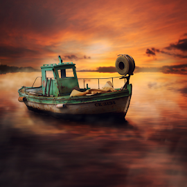 Boat by Matej Skubic - Digital Art Places ( fog, sunset, boat )