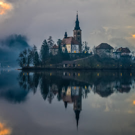 by Bojan Bilas - City,  Street & Park  Vistas ( urban exploration, reflection, europe, waterscape, fine art, lake, travel, daybreak, lights, urban, sky, dawn, fog, slovenia, bled, weather, night, long exposure, sunrise, lakeside, sky clouds, light, mist )