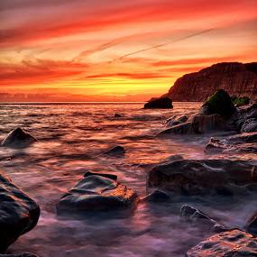 serenity by Mark Leader - Landscapes Sunsets & Sunrises ( cliffs, sea, sunrise, rocks, coast )