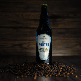 Dark & Delicious by Tanya Greene - Food & Drink Alcohol & Drinks ( coffee bean, beer, product photography, wood, espresso, alcohol, coffee )