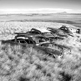 Abandoned Cars by James Oviatt - Black & White Objects & Still Life
