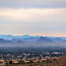 Hazy mountains behind town by Jason Finn - Buildings & Architecture Homes ( plant, home, copy space, walking, skyline, mountain, copyspace, exterior, cycling, valley, boulder, house, landscape, spring, hiking, angles, geology, jagged, sky, cold, arizona, lifestyle, trail, scenic route, dirt, phoenix, hazy, end, climate, clouds, dry, desert, hdr, purple, layer, neighborhood, horizon, rough, dusk, geometry, triangle, color, blue, sunset, biking, outdoors, summer, brown, view, day )