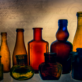 Antique Bottles by Loredana  Smith - Artistic Objects Still Life ( old, color, background, art, bottles )