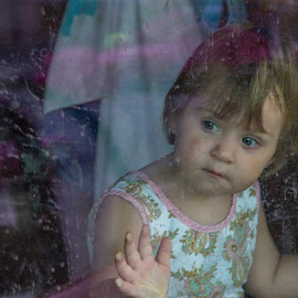 Looking out the Window by Steven Karum - People Street & Candids ( hands on glass, child, dirty window, window, blue eyes )