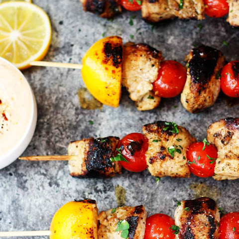 Lemon Chicken Skewers with Harissa Yogurt Sauce