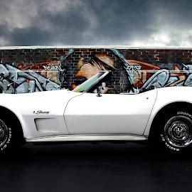 Grafitti by JEFFREY LORBER - Transportation Automobiles ( grafitti, gateway classic cars, lorberphoto, graffiti, car photography, rust 'n chrome, white car, jeffrey lorber, car photo )