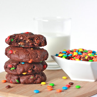 Soft Chocolate M&M Cookies
