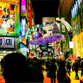 A night within Shibuya. by Jamaluddin Abdul Jalil - City,  Street & Park  Historic Districts ( shibuya, dazzle, reflection, bright, colors, billboards, silhoutte, glow, shadows, city, lights, japan, tourists, neon, tokyo, buildings, night, malls, crowd, signages, city at night, street at night, park at night, nightlife, night life, nighttime in the city )